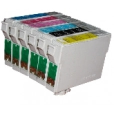 A set of pre-filled Epson Compatible T0807 dye sublimation ink cartridges.