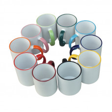 11oz Mug with Coloured Fringe and Handle - Box of 36pcs