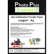 PhotoPlus A4 Dye Sublimation 110gsm Transfer Paper, 100 Sheets.